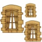 Cottage Window with Curtains - MDF Wood Shape