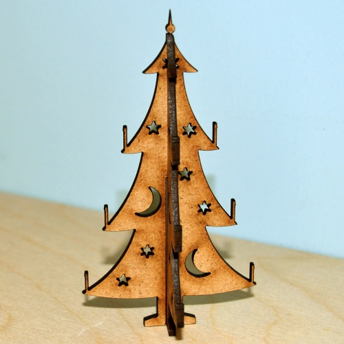 3D Christmas Tree MDF Wood Kit   Style 1