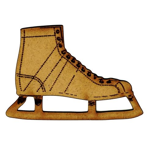 Ice Skates With Stitching Mdf Wood Shape Style 2
