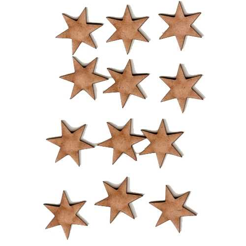 6 Pointed Star Shape Mini Mdf Wood Plaques