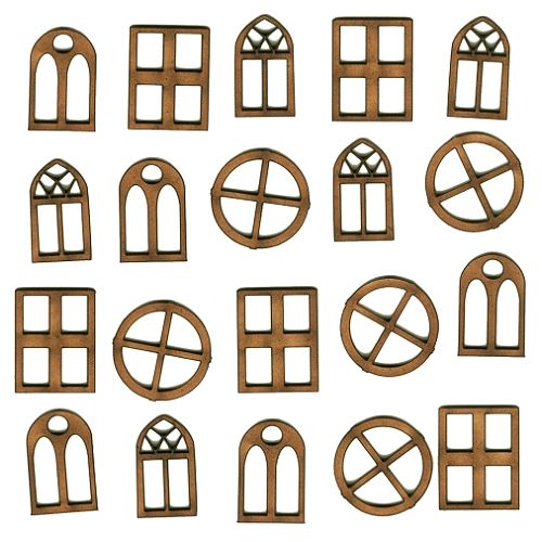Mini windows mdf wood shapes for altered art and craft for Window shapes and designs