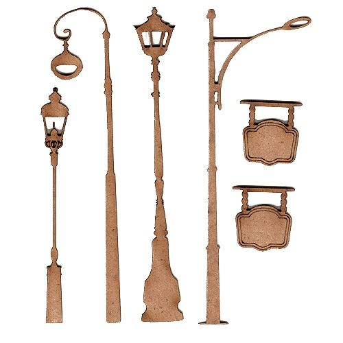 Mini street lights and lamps wood shapes 3 for art and crafts sheet of mini mdf wood lamp posts style 3 aloadofball Image collections