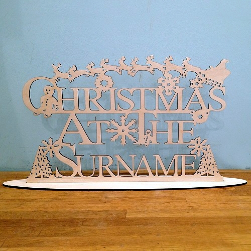 Christmas Personalised Free Standing Hanging Plaque Wooden Sign christmas at the