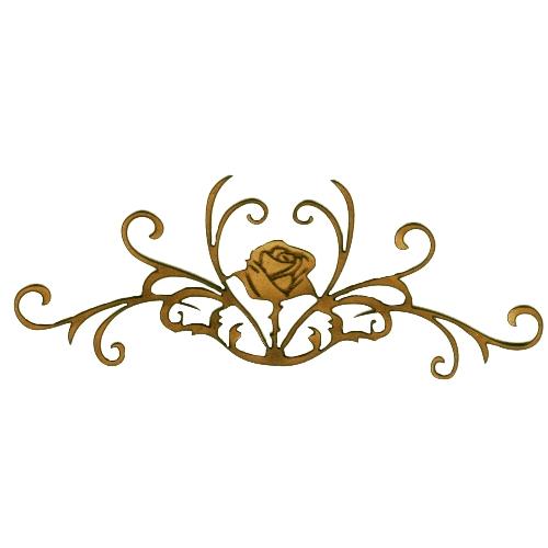 rose with fancy vine scrolls