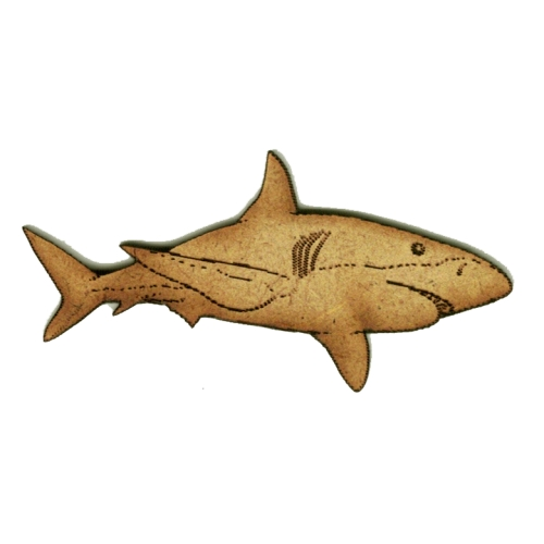 Great White Shark Wood Shape Style 4 For Art And Craft