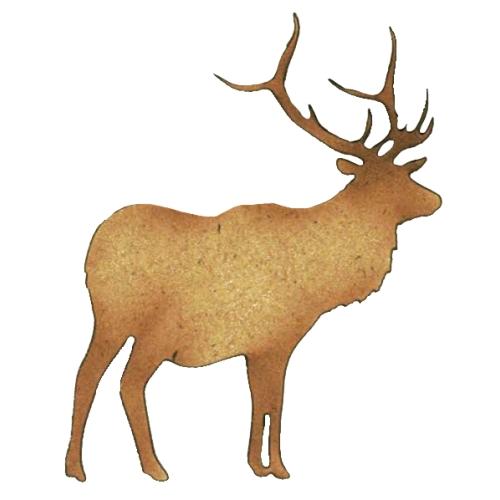 stag deer mdf wood shape style 2 - Reindeer Images 2