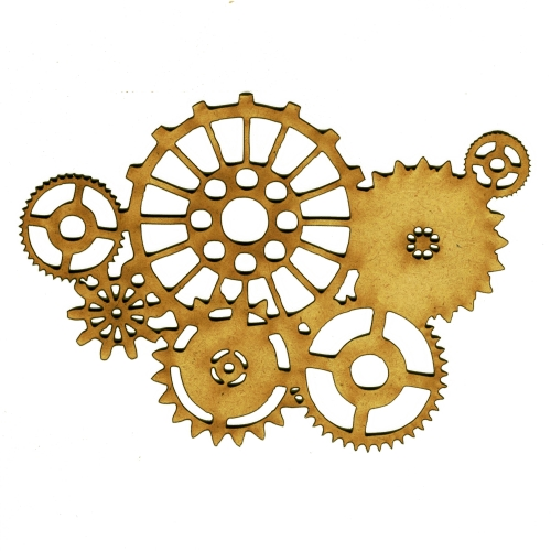 steampunk mechanical cogs wood shape 3 for art and craft projects