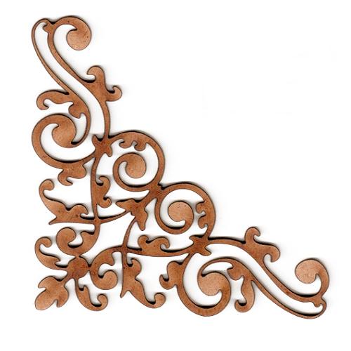 Baroque Flourish Wood Corner Embellishment For Arts And Crafts