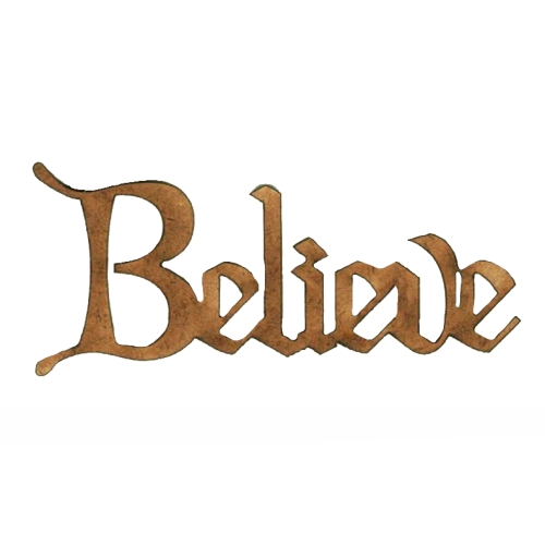 Believe Wood Word cut out in Christmas Card font
