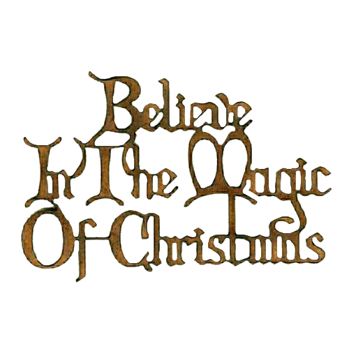 Believe In the Magic of Christmas wood words, Christmas Card font