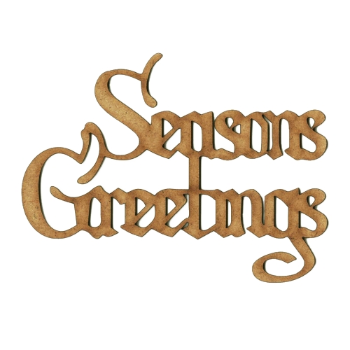 Seasons Greetings - Wood Word cut outs in Christmas Card font