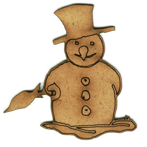 Snowman With Brolly Mdf Wood Shape