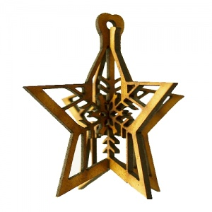3D Snowflake Bauble MDF Wood Shape - Style 4