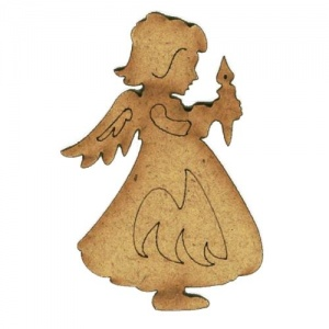 Angel with Candle - MDF Wood Shape