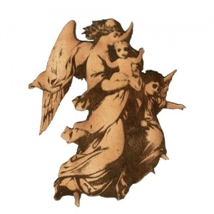 Vintage Angel with Cherubs - MDF Wood Shape