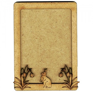 Plain ATC Wood Blank with Rabbit & Snowdrops Frame