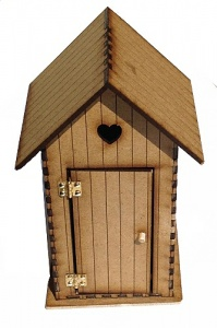 Engraved MDF Beach Hut Kit with Hinged Door