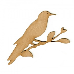 Bird on a Branch MDF Wood Shape Style 1