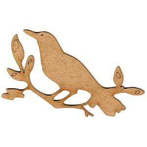 Bird on a Branch MDF Wood Shape Style 2