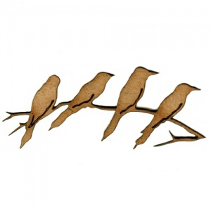 Birds on a Branch MDF Wood Bird Shape