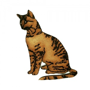 Short Haired Tabby Cat MDF Wood Shape Style 11