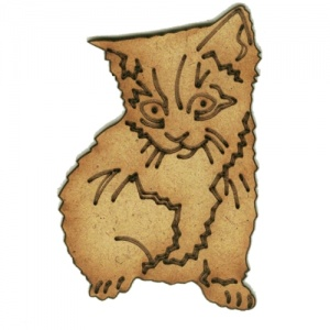 Long Haired Kitten MDF Wood Shape Style 23