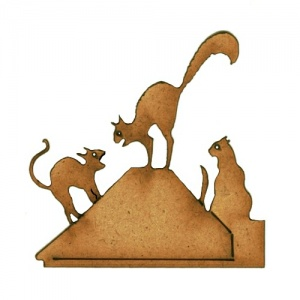 Cat Scrap MDF Wood Shape Style 38