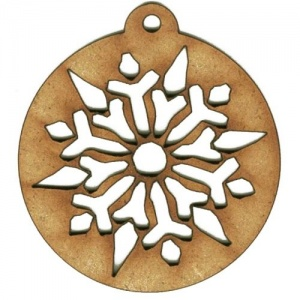 Snowflake Cut Out Bauble - MDF Wood Shape