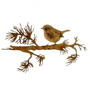 Robin on Winter Fir Bough - MDF Bird Wood Shape