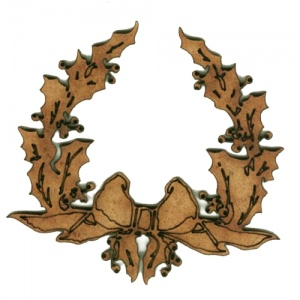 Christmas Holly Wreath with Bow - MDF Wood Shape