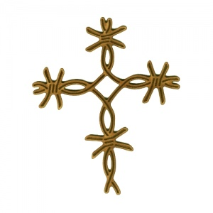 Barbed Wire Twist Cross - MDF Wood Shape Style 14