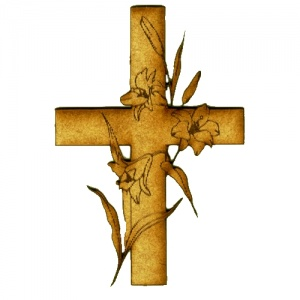 Cross with Lillies - MDF Wood Shape Style 17