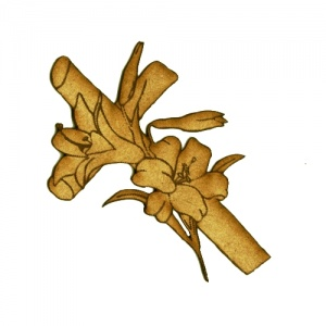 Cross with Lillies - MDF Wood Shape Style 18
