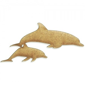 Dolphin Duo MDF Wood Shape - Style 03