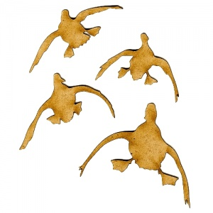 Incoming Ducks MDF Wood Bird Shapes - Set of 4
