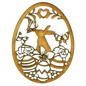 Easter Egg MDF Wood Shape with Rabbit & Butterflies