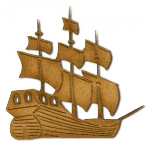 Galleon Boat MDF Wood Shape - Style 7