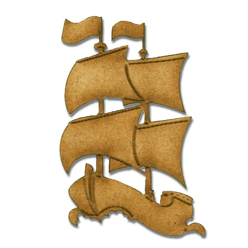 Galleon Boat MDF Wood Shape - Style 9