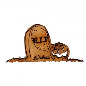 RIP Gravestone and Pumpkin MDF Wood Shape