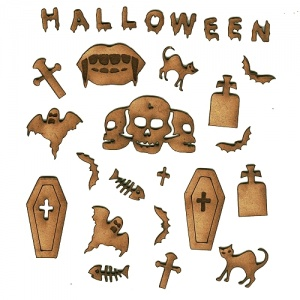 Coffins & Gravestones - Sheet of Halloween Mini Wood Shapes
