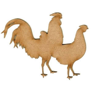 Hen & Cockrell Side by Side - MDF Wood Bird Shape