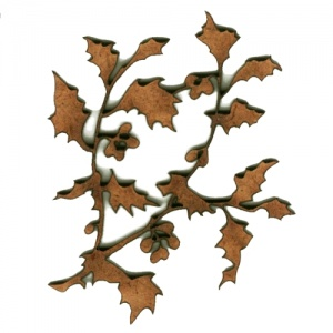 Holly Leaf Sprig MDF Wood Shape - Style 4