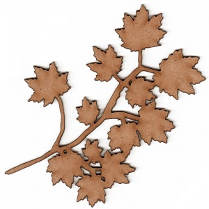 Mini Sugar Maple Leaf & Twig - MDF Wood Shape