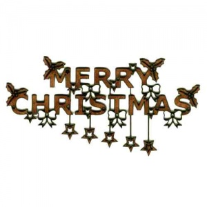 Merry Christmas & Stars - Decorative MDF Wood Words