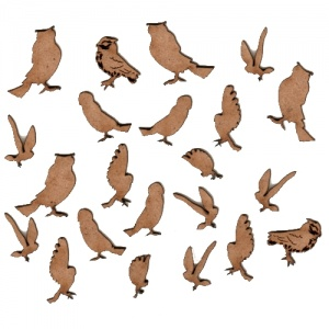 Sheet of Mini MDF Wood Birds - Owls