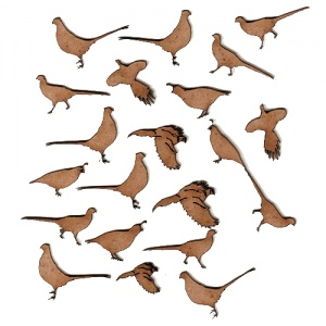 Sheet of Mini MDF Wood Birds - Pheasants & Quails