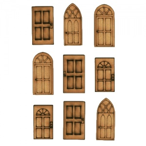 Sheet of Mini MDF Door Wood Shapes