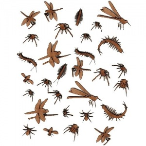 Sheet of Mini MDF Wood Insects Style 1