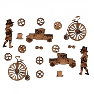 Sheet of Mini MDF Steampunk Motifs Style 6