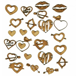 Sheet of Mini Valentine MDF Wood Shapes - Style 1